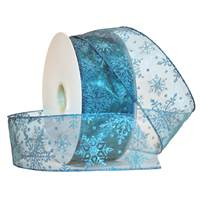 Snowflakes Wired Ribbon (Turquoise)