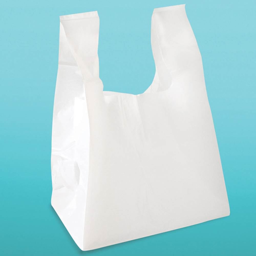 Plastic catering and to go bags square bottom t shirt for Plastic t shirt bag