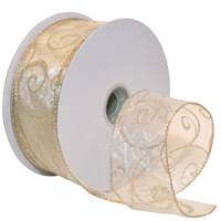 Swirls Wired Ribbon (Ivory/Gold)
