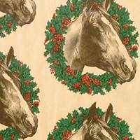 Wreath Horse Gift Wrap Paper