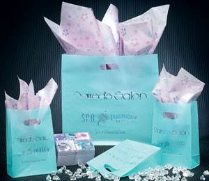 Aqua Die Cut Shopping Bags