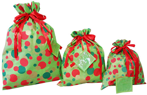 Christmas Gift Bags.Closeout Shopping Bags Holiday Dots Fabric Bags The