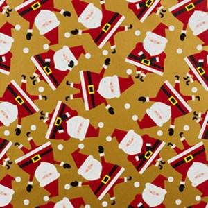 Dancing Santa Gold Gift Wrap