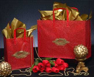 Red Paisley Shopping Bags