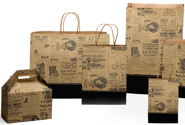 Newsprint with Border Paper Shopping Bags