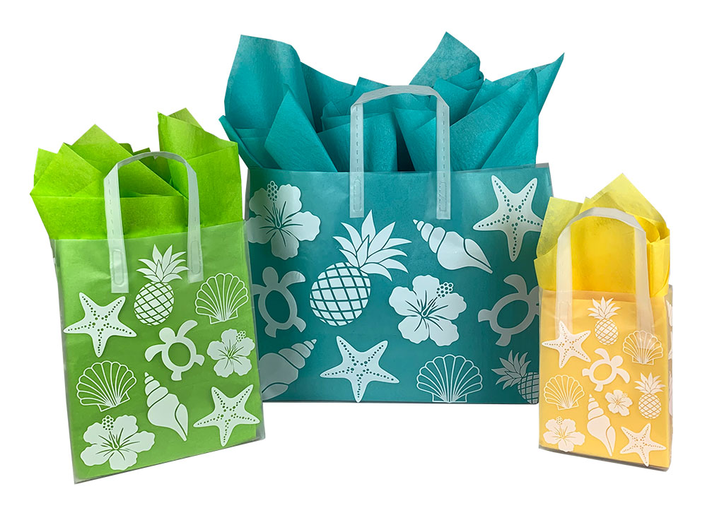 Beach Collection Frosted Shopping Bags