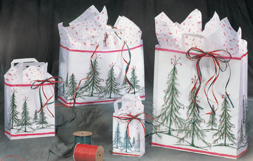Christmas Forest Frosted Shopping Bags