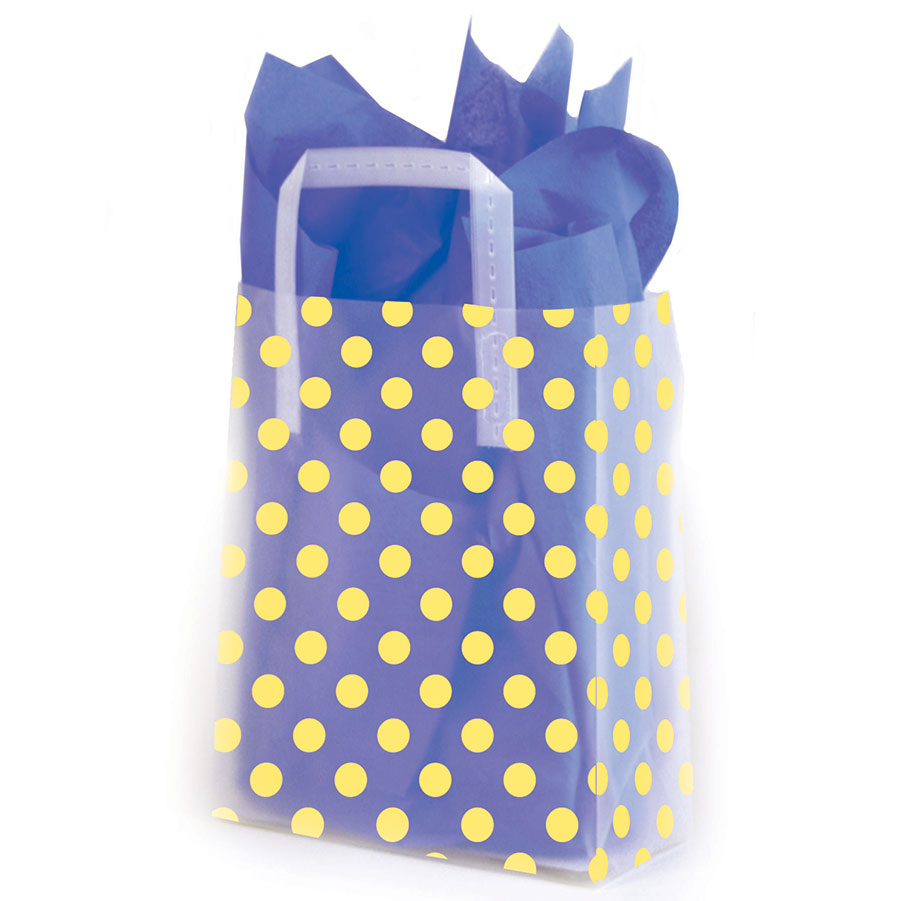 Yellow Dots Frosted Shopping Bags