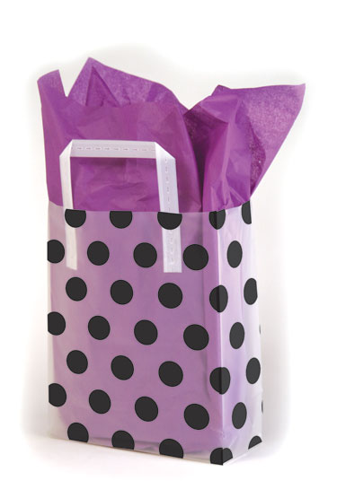 Black Dots Frosted Shopping Bags