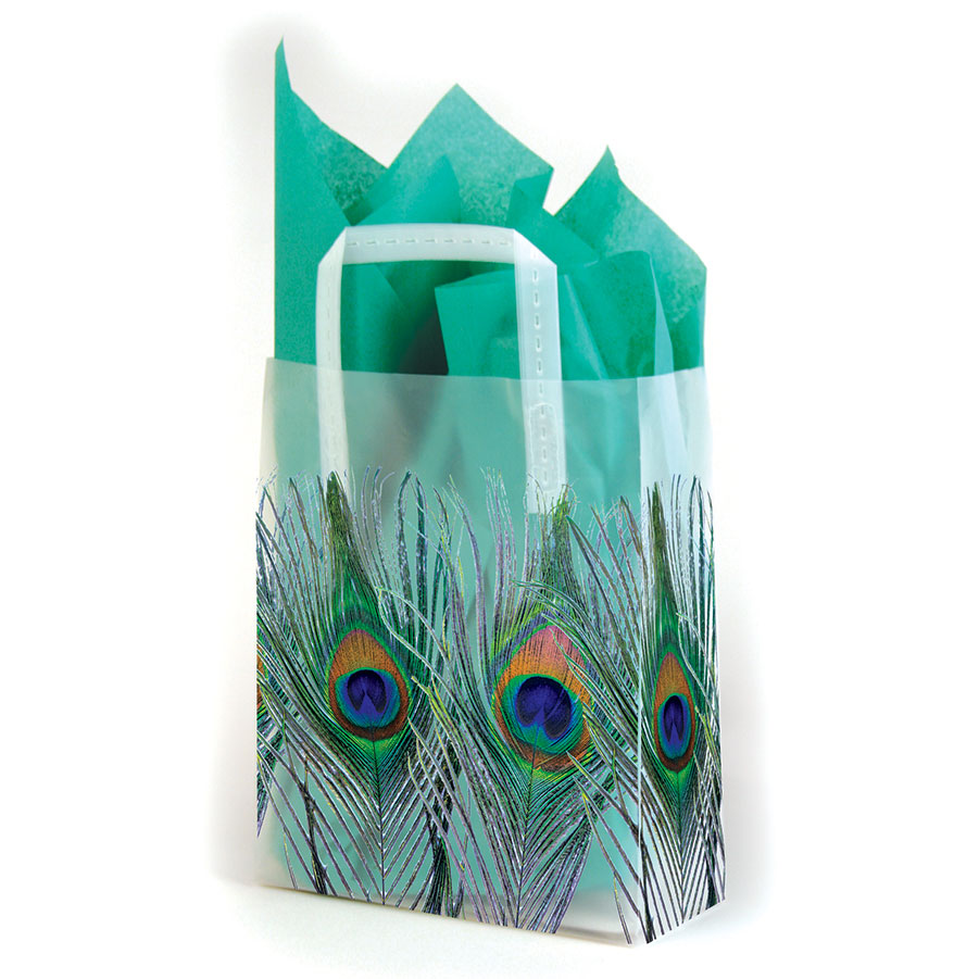 Peacock Frosted Shopping Bags