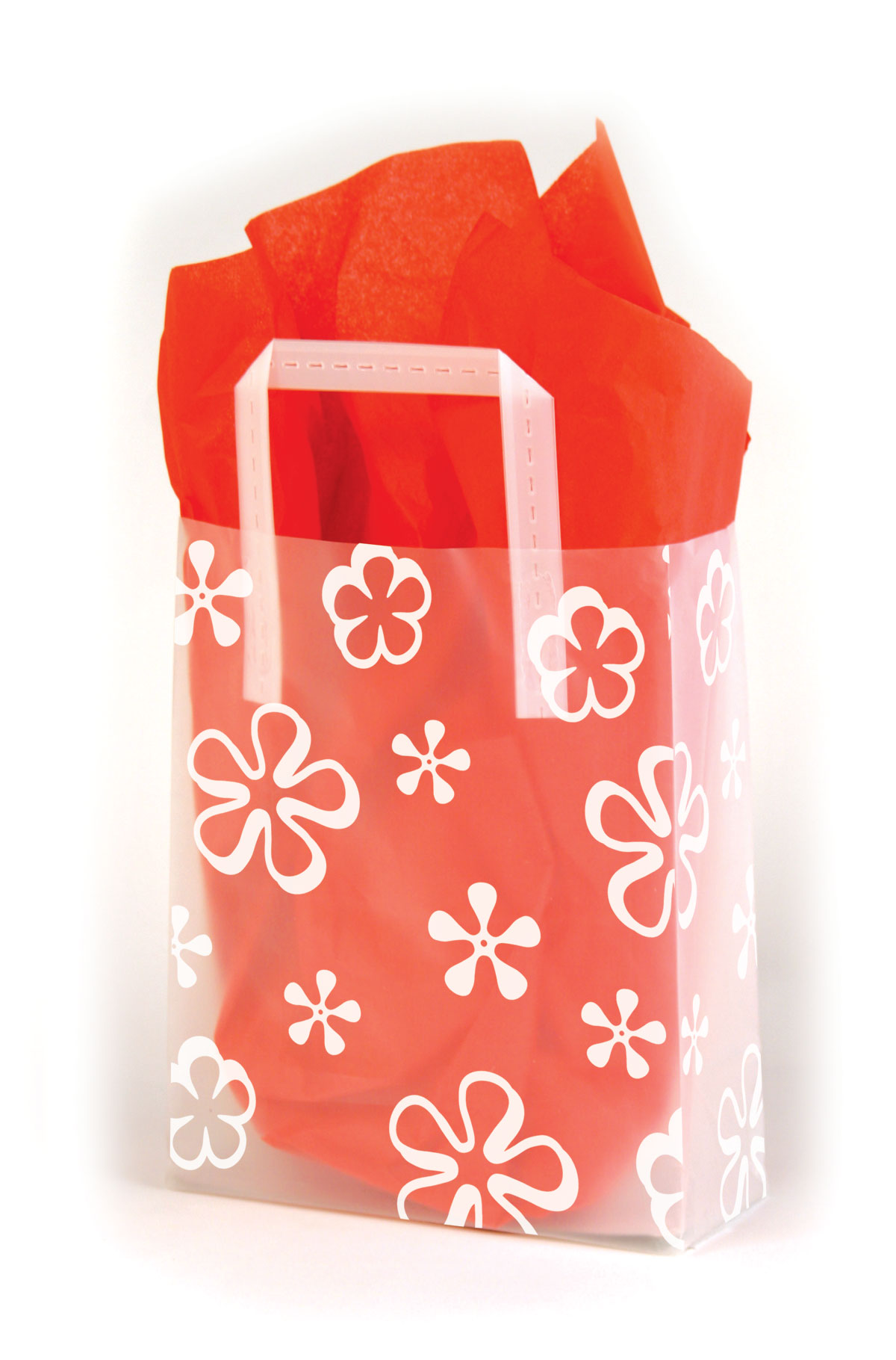 Big Mod Flowers Frosted Shopping Bags