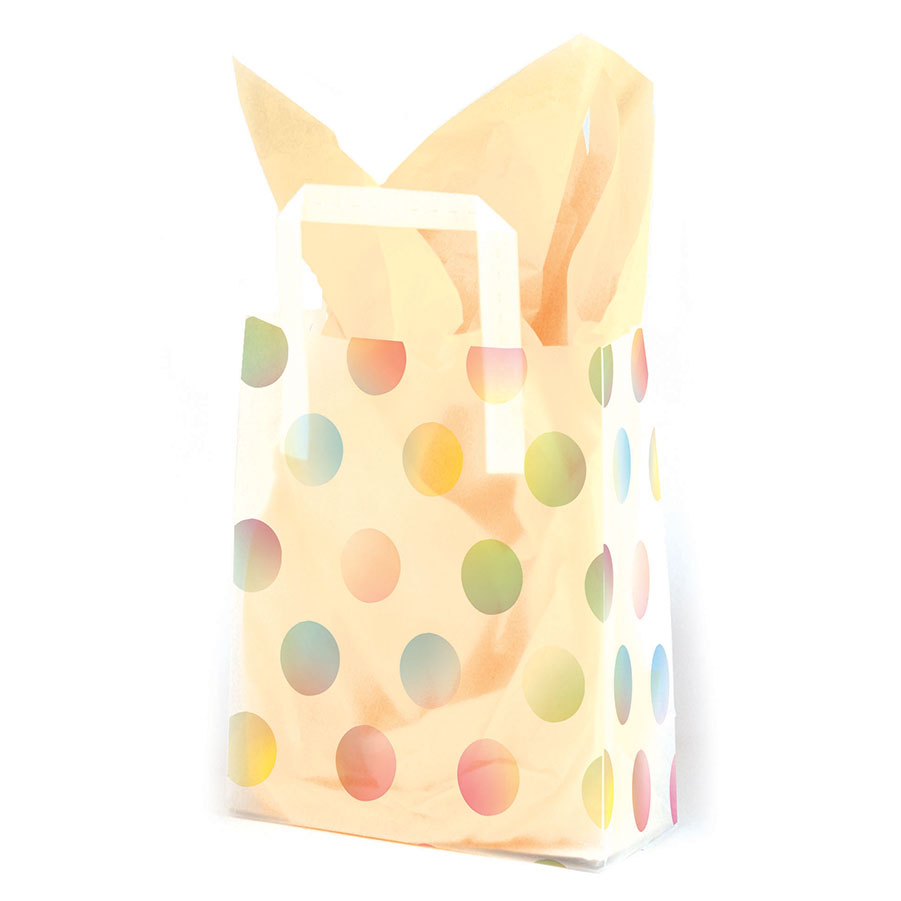 Watercolor Dots Frosted Shopping Bags