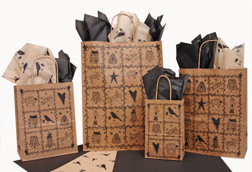 Folk Art Paper Shopping Bags