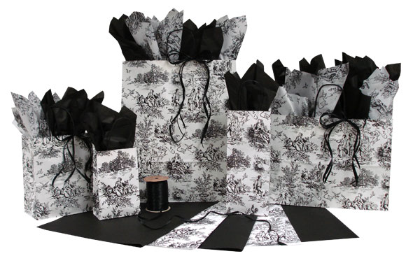 French Toile Black Paper Shopping Bags