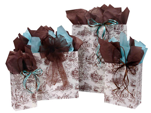 French Toile Chocolate Paper Shopping Bags