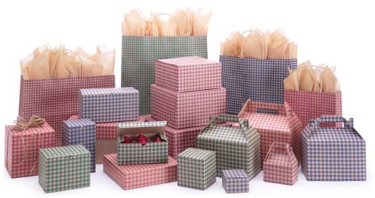 Gingham Check Paper Shopping Bags