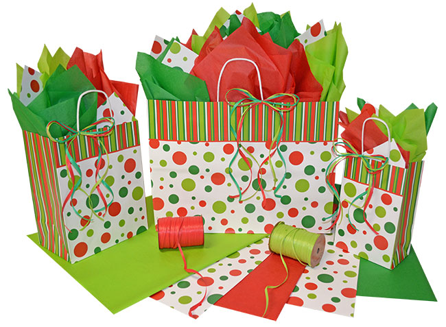 Christmas Dots Shopping Bags