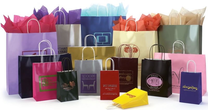 Gloss Colors on White Shopping Bags