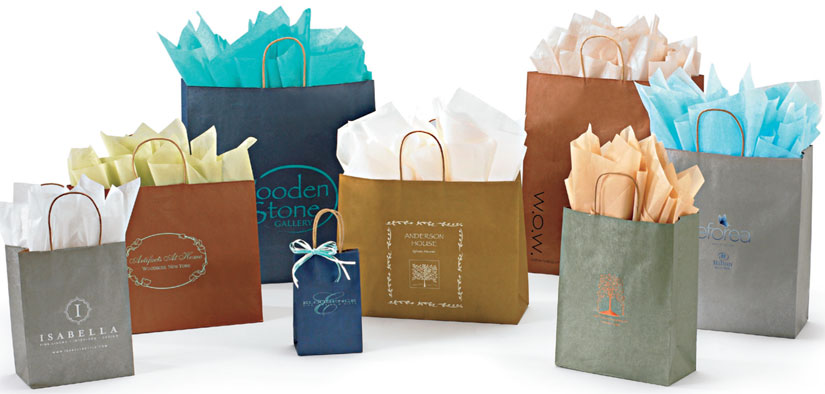 Metallic Colors on Kraft Shopping Bags  (MADE IN USA)