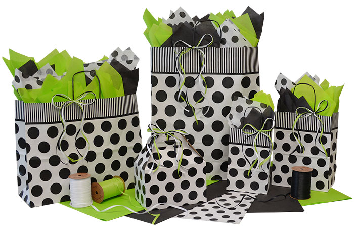 Black Dots Paper Shopping Bags