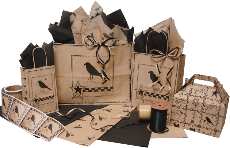 Primitive Crow Paper Shopping Bags