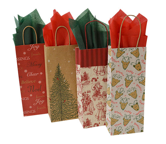 Christmas Bag Closeouts - Wine Sizes