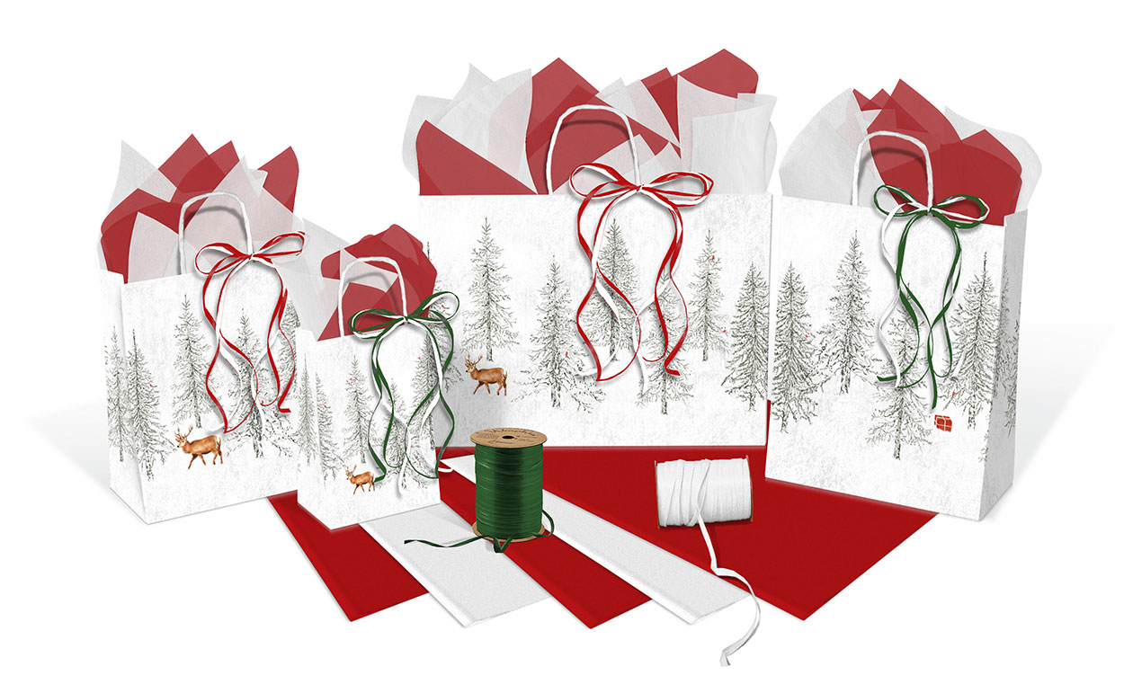 Winter Forest Paper Shopping Bags