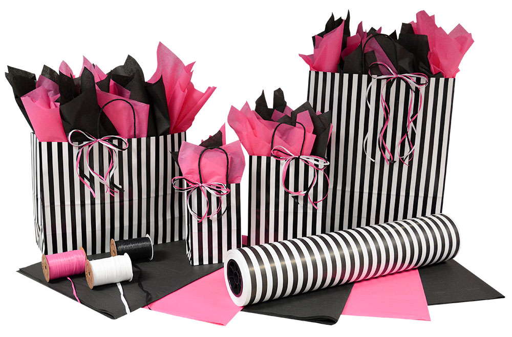 Black & White Stripes Paper Shopping Bags