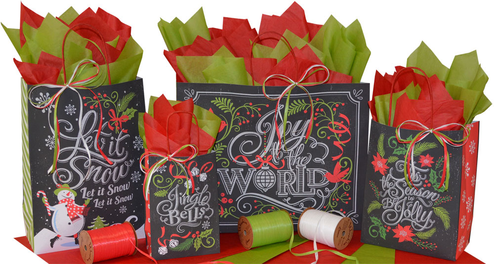 Chalkboard Carols Paper Shopping Bags