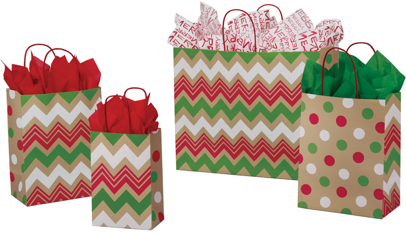 Christmas Dots & Chevron Paper Shopping Bags