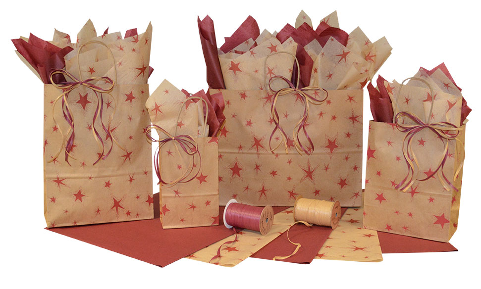 Primitive Star Burgundy Paper Shopping Bags