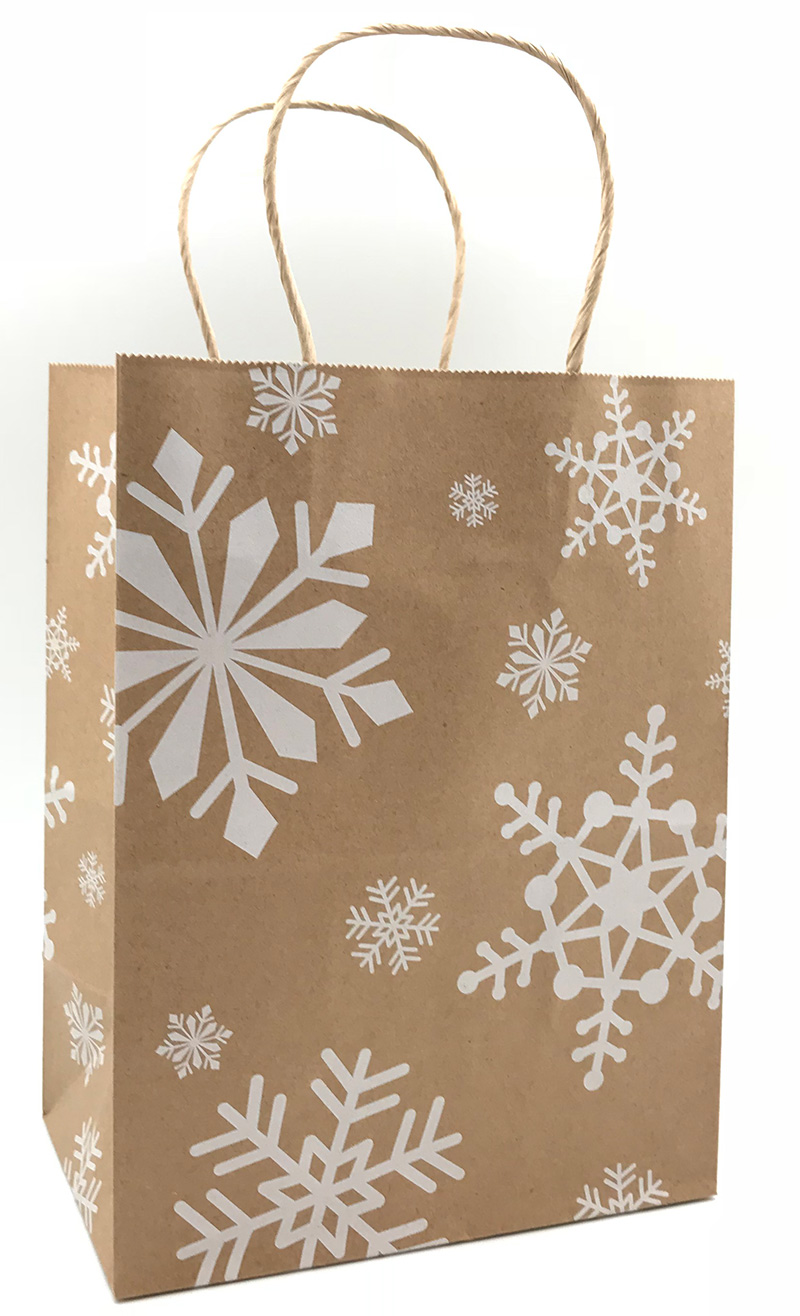 White Snowflakes Shopping Bags