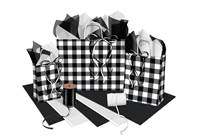 Black and White Plaid Paper Shopping Bags (Pup)