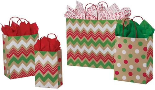 Christmas Dots and Chevron Paper Shopping Bags