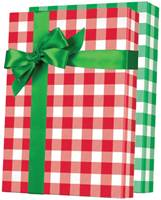 Christmas Gingham Reversible Gift Wrap Paper Wholesale Gift Wrap Paper, Christmas Gift Wrap Paper