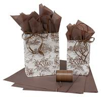 French Toile Chocolate Paper Shopping Bags (Cub)