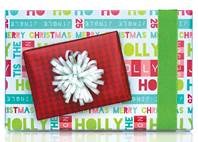 Holiday Time Text Gift Wrap Paper (Reversible)