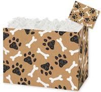 Kraft Paw Prints and Bones Gift Basket Boxes Gift Basket Boxes, Gift Basket Packaging