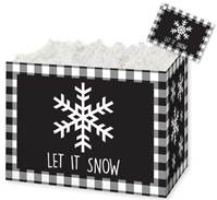 Let it Snow Plaid Gift Basket Boxes Gift Basket Boxes, Gift Basket Packaging