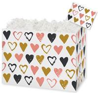 Metallic Hearts Gift Basket Boxes Gift Basket Boxes, Gift Basket Packaging