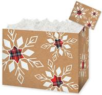 Plaid Snowflakes Gift Basket Boxes Gift Basket Boxes, Gift Basket Packaging