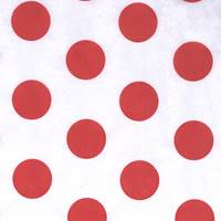 Red Polka Dot on White Tissue Paper