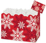 Red and White Snowflakes Gift Basket Boxes Gift Basket Boxes, Gift Basket Packaging