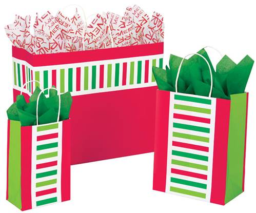 Santa Stripe Paper Shopping Bags
