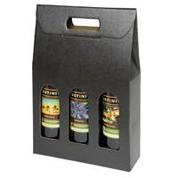 Seto Nero (750ml) 3 Bottle Box Wine bottle carrier, Olive oil bottle carrier, Seto Nero bottle carrier