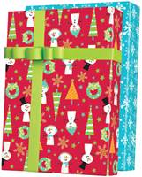 Snow Buddies Reversible Gift Wrap Paper Wholesale Gift Wrap Paper, Christmas Gift Wrap Paper