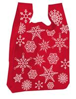 Snowflakes White on Red T-Shirt Bags (Medium)