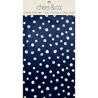 White Dots on Navy Resale Tissue Paper