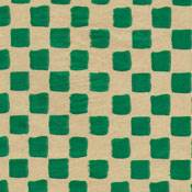 Primitive Check Green on Kraft Tissue Paper
