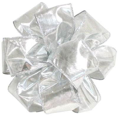 Tissue Lame Silver Wired Ribbon